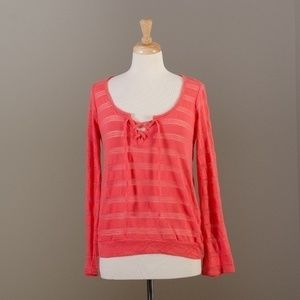 [Splendid] pink knit long sleeve top with tie
